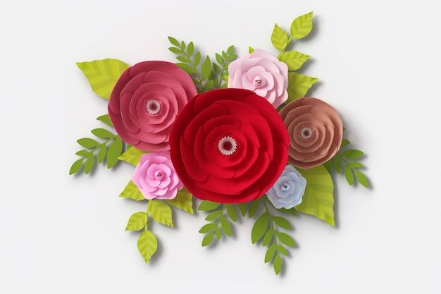 Stile di carta di fiori, rendering 3d