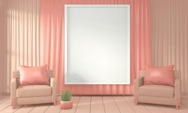 Stile di corallo vivente di colore interno della stanza della decorazione e della poltrona, rappresentazione 3d