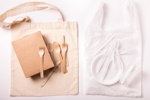 Stile di vita sostenibile, scelta consapevole, concetto di plastica libera