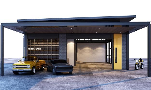 Stile industriale ed interno del sottotetto del garage esterno con la rappresentazione delle automobili 3d