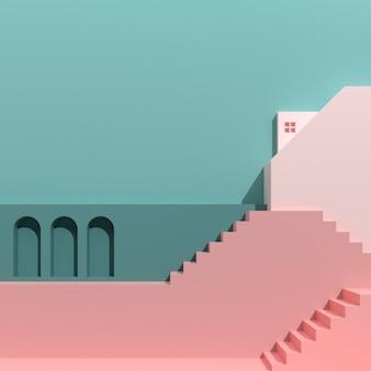 Stile minimal di edifici architettonici con scale e archi, alloggiamento su sfondo di colore pastello, presentazione, ombra e ombra. rendering 3d.
