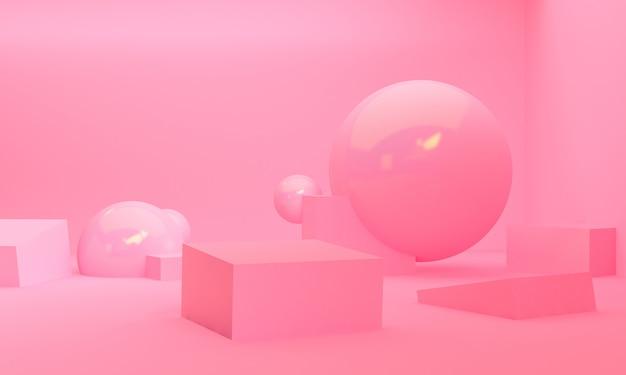 Stile minimal di scena di forma geometrica, rendering 3d.