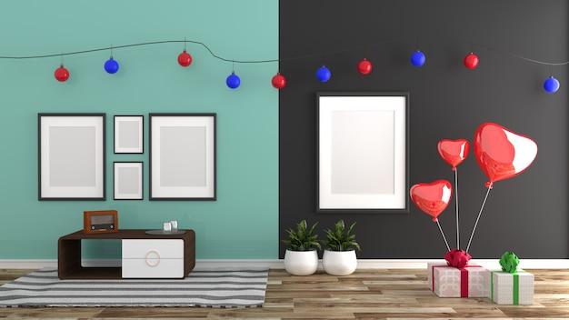 Stile natalizio, interni in stile zecca, stile moderno. rendering 3d