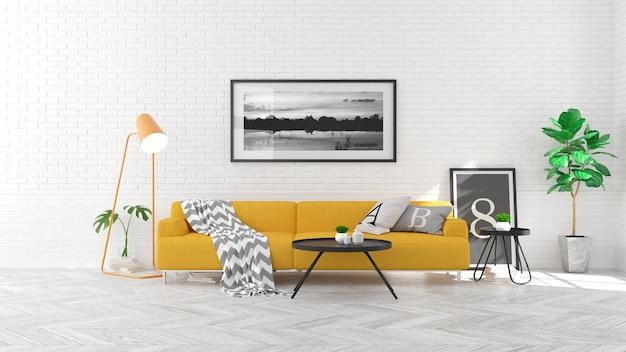 Stile scandinavo, concetto interno del salone, sofà giallo sul pavimento di legno e mattone bianco