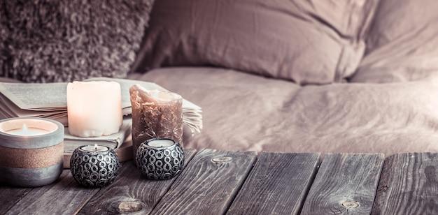 Still life casa accogliente, dettagli interni nel soggiorno