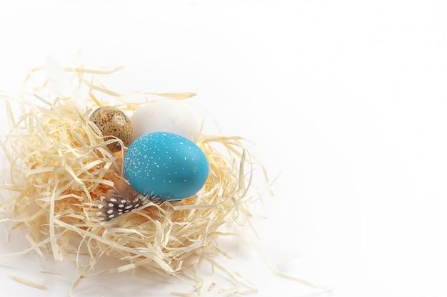 Still life di uova, pasqua ggs sull'erba secca