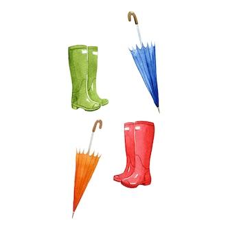 Stivali da pioggia e ombrelli, simboli della stagione dell'acquerello
