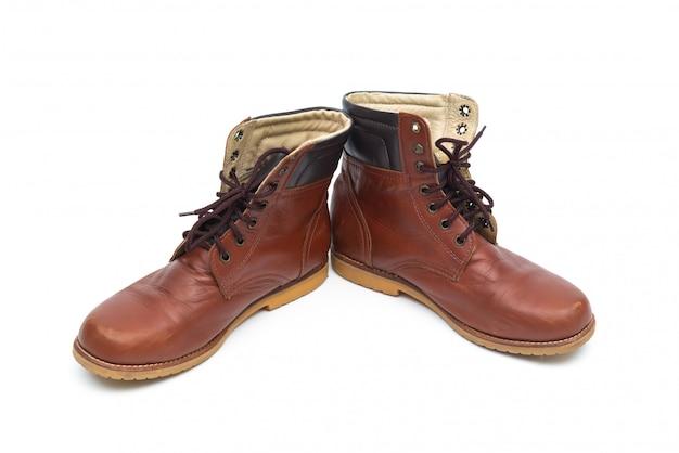 Stivali da uomo in pelle marrone