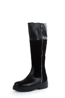 Stivali di cuoio del ginocchio alto della donna isolati