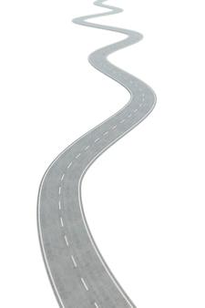 Strada asfaltata curva che va in avanti con le marcature bianche.