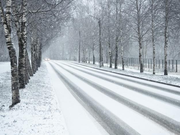 Strada campestre di inverno in nevicate.