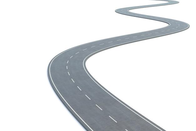 Strada curva isolata su bianco.