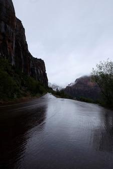 Strada di campagna bagnata