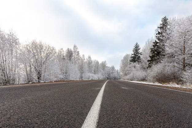 Strada di inverno al giorno gelido con cielo blu, paesaggio con gli alberi innevati, modello della striscia divisoria della strada principale bianca e ghiaccio su asfalto