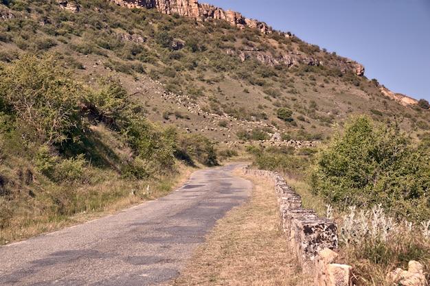 Strada di montagna asfaltata stretta