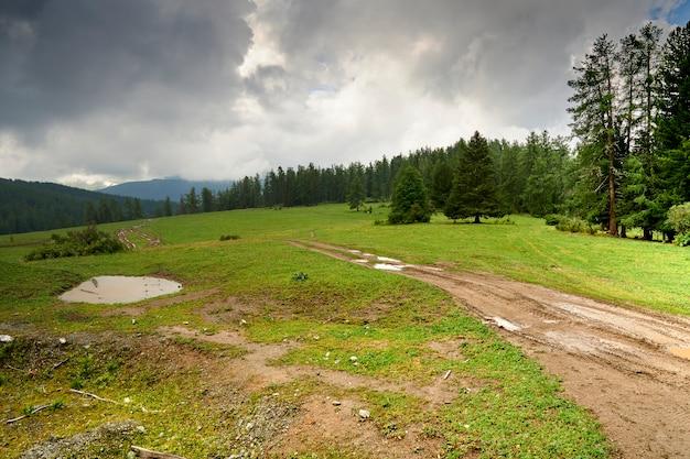Strada di montagna offuscata dalle piogge. fuoristrada in montagna. cupo cielo nuvoloso e pioggia in montagna. altai