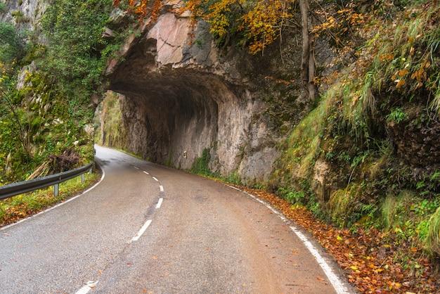 Strada di pietra del tunnel in montagna scenary nel parco naturale di somiedo, asturie, spagna.
