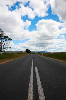 Strada di tronchi in una giornata nuvolosa