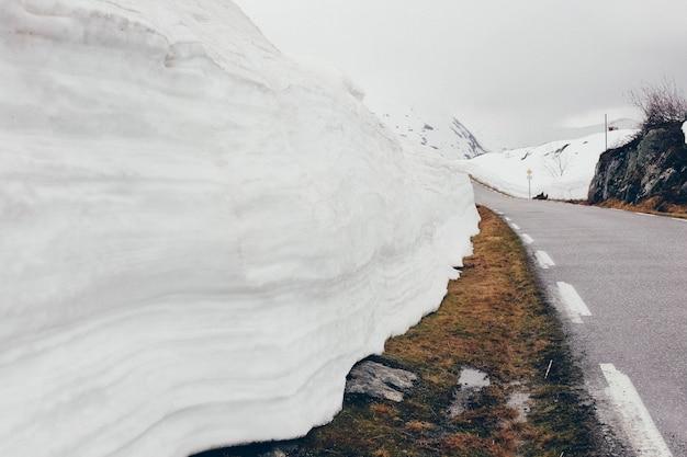 Strada innevata con ghiaccio