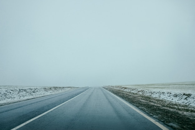 Strada invernale la traccia.