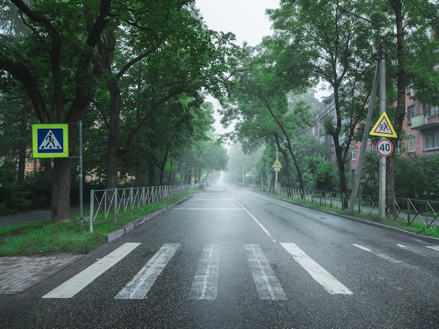 Strada nebbiosa vuota al mattino presto.