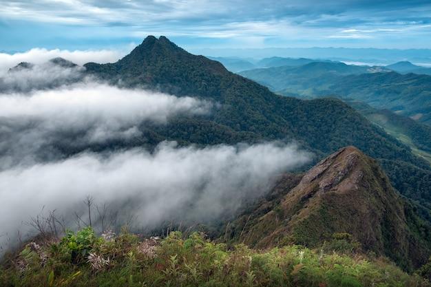 Strati di montagne e nebbia all'alba a khun yuam, tailandia