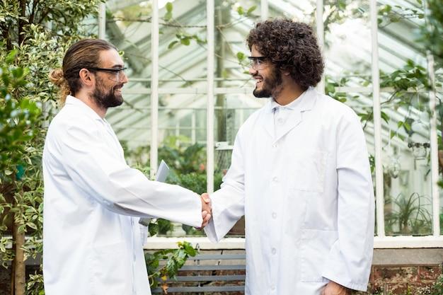 Stretta di mano degli scienziati maschii fuori della serra
