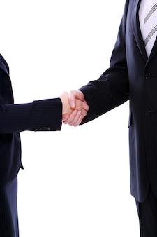 Stretta di mano di due soci d'affari