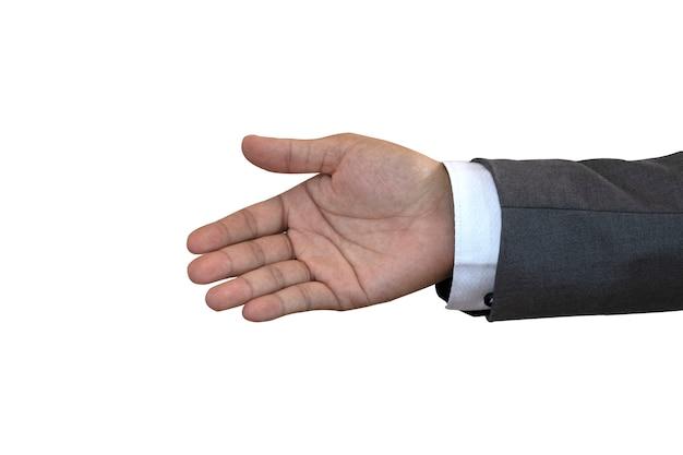 Stretta di mano di elasticità dell'uomo d'affari su priorità bassa bianca