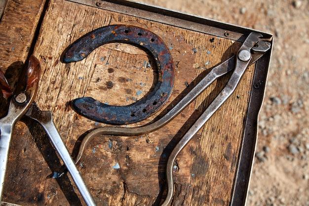 Strumenti del cavallo di ferro di cavallo su un legno di lerciume