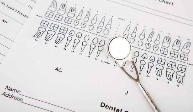 Strumenti dentali e attrezzature su grafico dentale