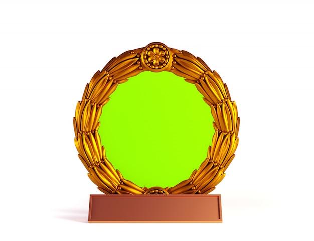 Struttura antica del cerchio con l'etichetta di nome su fondo bianco.