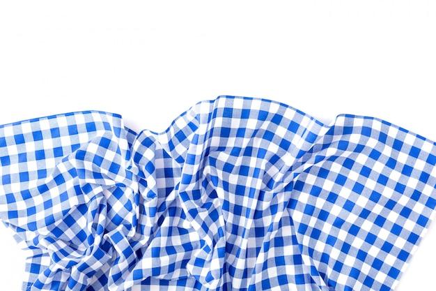 Struttura blu della tovaglia su bianco