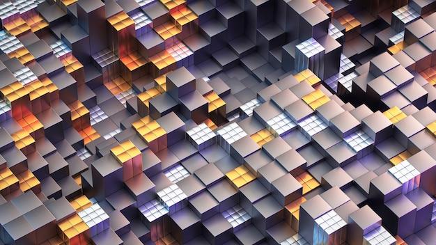 Struttura cubi in metallo dorato e argento, ottimo design per qualsiasi scopo. contesto di tecnologia del modello di struttura.