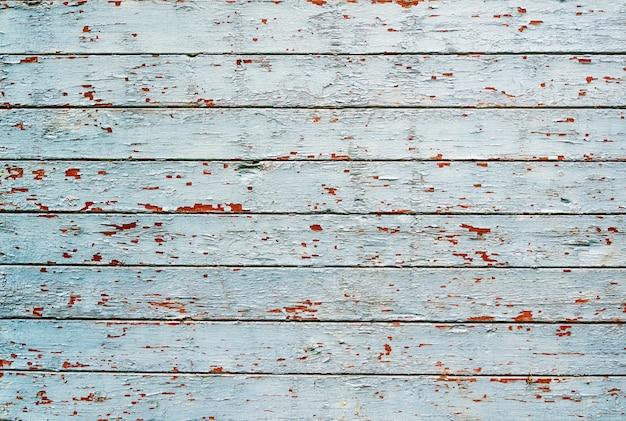 Struttura del bordo di legno dipinta eleganza misera blu e verde stagionata incrinata, vista frontale