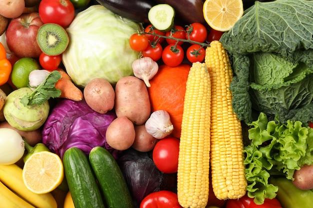 Struttura delle frutta e delle verdure sull'intera fine in su