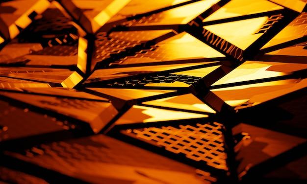 Struttura di tecnologia 3d con il fondo della luce arancio. illustrazione 3d