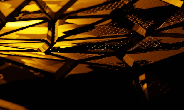 Struttura di tecnologia 3d con il fondo della luce gialla. illustrazione 3d