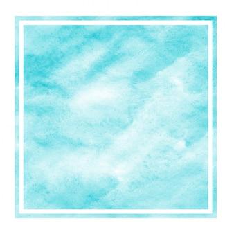 Struttura disegnata a mano blu-chiaro del fondo della struttura dell'acquerello della luce rettangolare con le macchie