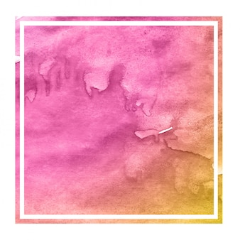 Struttura disegnata a mano rosa ed arancio del fondo della struttura rettangolare dell'acquerello con le macchie