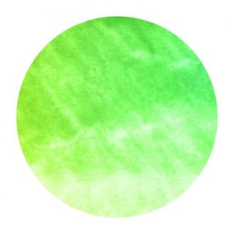 Struttura disegnata a mano verde del fondo della struttura circolare dell'acquerello con le macchie