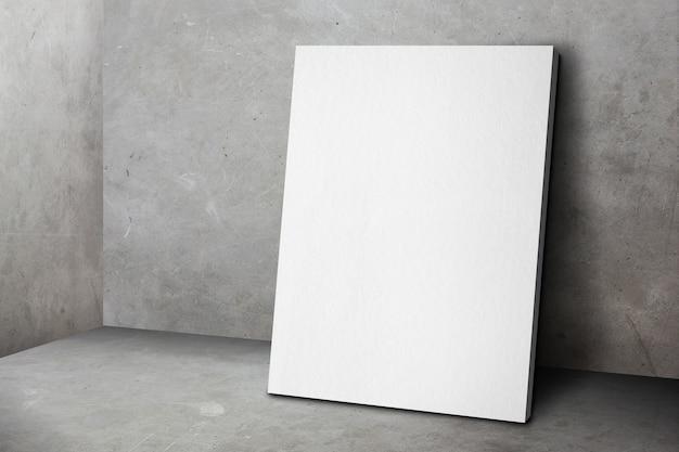 Struttura in bianco del manifesto che si appoggia al muro di cemento grigio del grunge