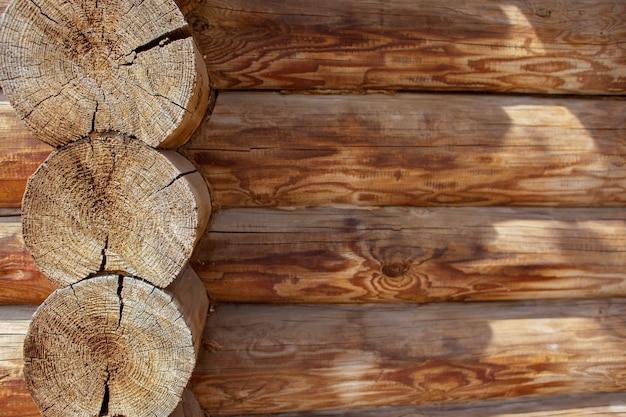 Struttura in legno, capanna di tronchi, un abbattimento, il posto per un'iscrizione, spazio per il testo, copyspace