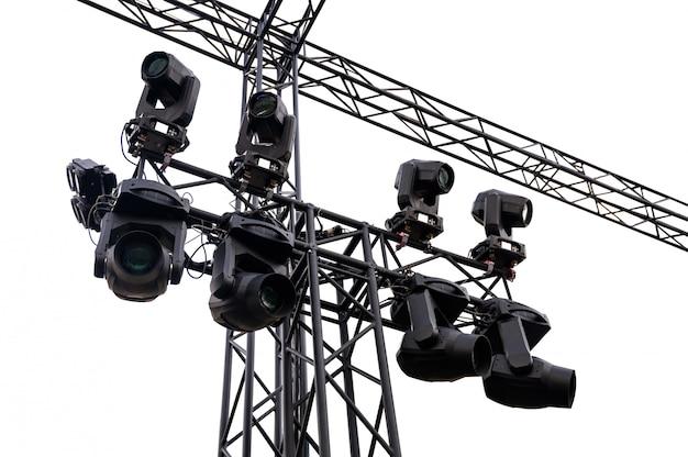 Struttura in metallo nero luci del palcoscenico con faretto