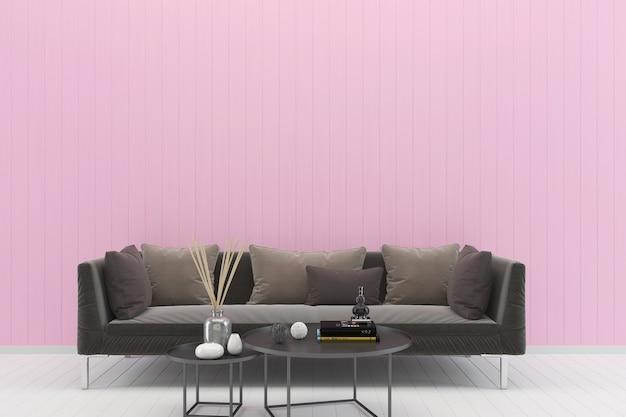 Struttura marrone della priorità bassa del pavimento di legno bianco della parete rosa pastello del sofà