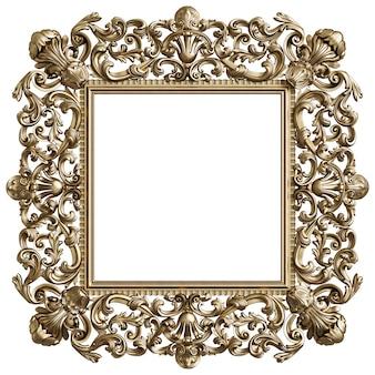 Struttura quadrata dorata classica con la decorazione dell'ornamento isolata su fondo bianco
