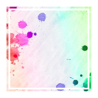 Struttura rettangolare del fondo della struttura dell'acquerello disegnata a mano multicolore con le macchie