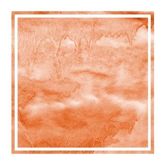 Struttura rettangolare del fondo della struttura dell'acquerello disegnato a mano arancio con le macchie