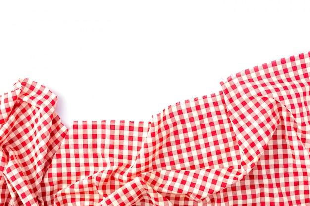 Struttura rossa della tovaglia su bianco