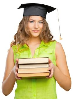 Studente felice in cappello di laurea